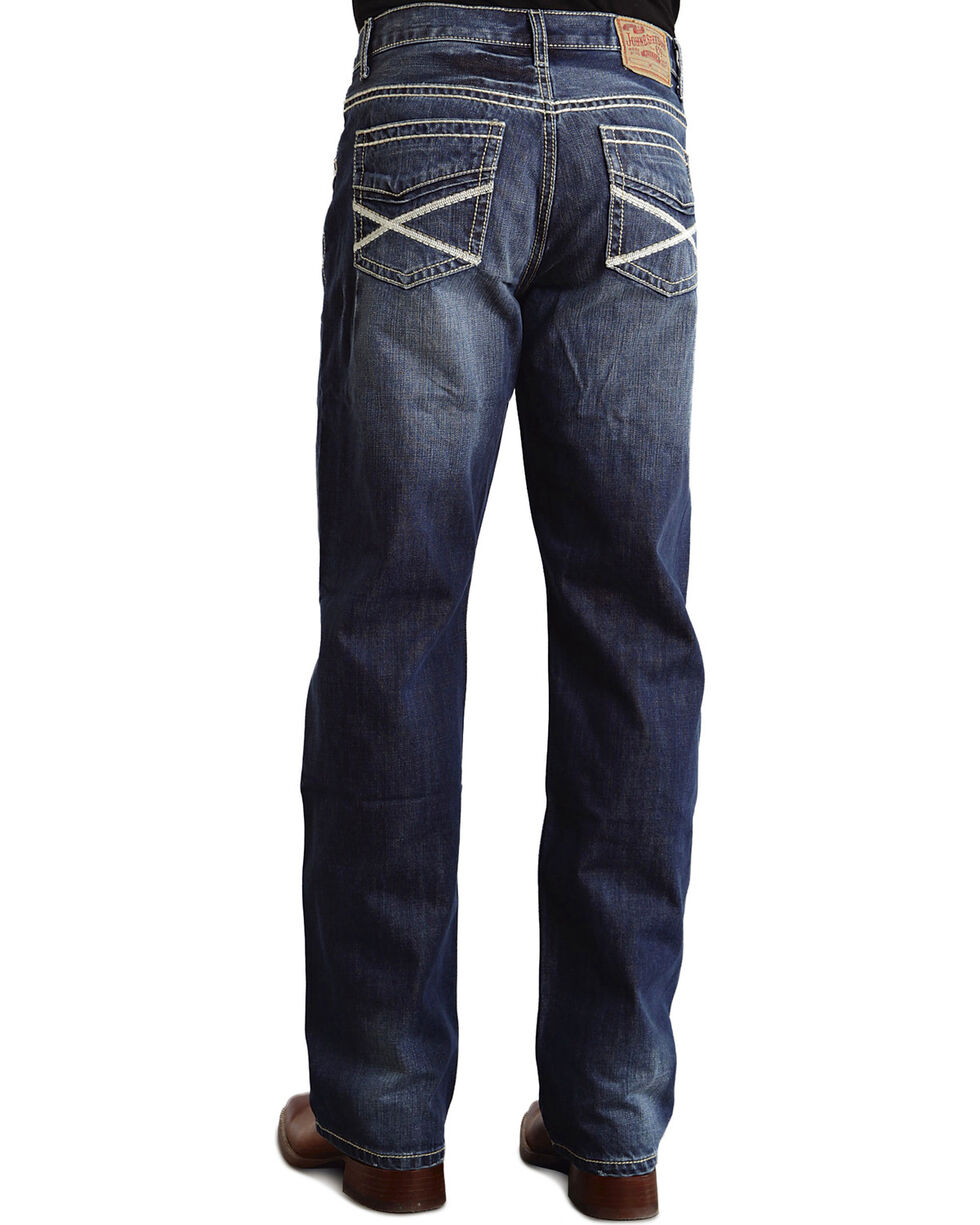 """Stetson Modern Fit Heavy """"X"""" Stitched Jeans - Big & Tall, Med Wash, hi-res"""