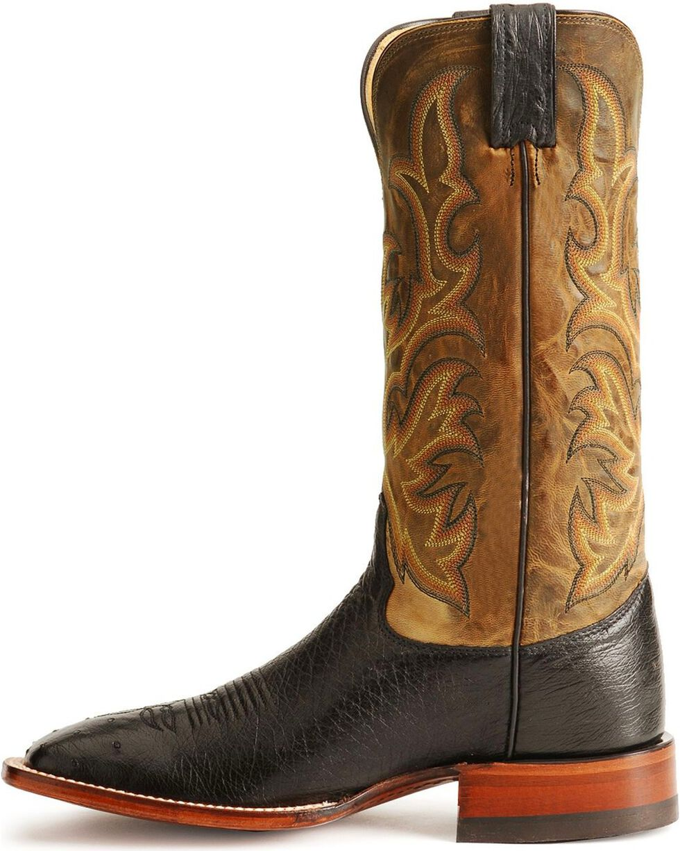Justin Smooth Ostrich AQHA Remuda Western Cowboy Boots - Square Toe, Black, hi-res