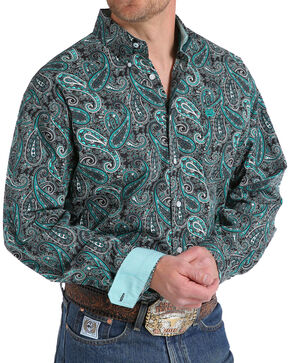 Cinch Men's Paisley Print Long Sleeve Button Down Shirt, Black, hi-res