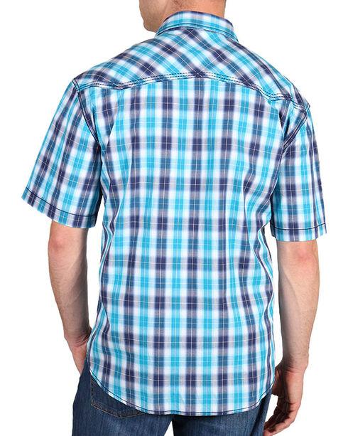 Moonshine Spirit Men's Plaid Short Sleeve Western Shirt, Navy, hi-res