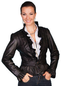 Scully Ruffle Trimmed Lambskin Jacket, , hi-res