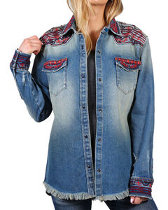 Driftwood Women's Embroidered Heavy Weight Chambray Shirt, Light/pastel Blue, hi-res
