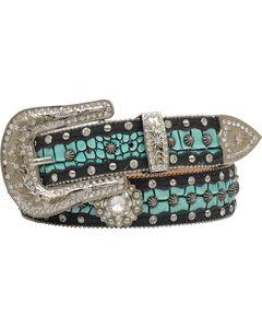 "Angel Ranch Women's 1.5"" Turquoise Gator Inlay Fashion Belt, Black, hi-res"