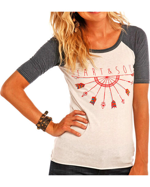 Rock & Roll Cowgirl Women's Heart and Soul Baseball Tee , White, hi-res