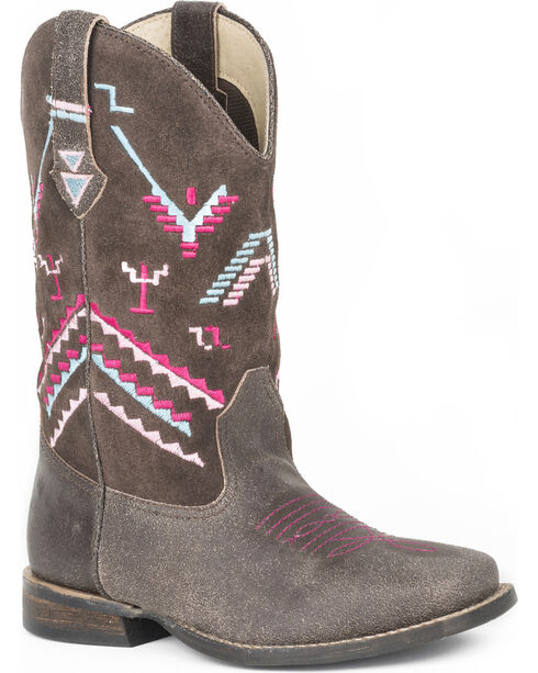 Roper Girls' Hunter Embroidered Suede Cowboy Boots - Square Toe, Brown, hi-res