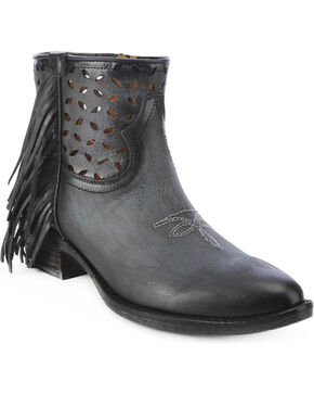 Circle G Fringe Cut-Out Ankle Boots - Round Toe, Black, hi-res