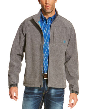Ariat Men's Charcoal Softshell Logo Jacket, Charcoal, hi-res