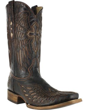 Corral Men's Wing and Cross Western Boots - Square Toe , Black, hi-res