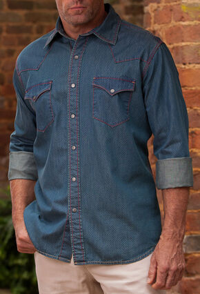 Ryan Michael Men's Vintage Dot Print Western Shirt, Indigo, hi-res