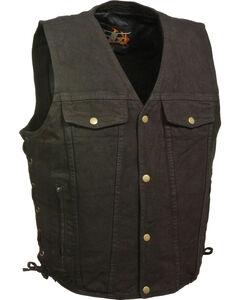 Milwaukee Leather Men's Side Lace Denim Vest w/ Chest Pockets - Big - 4X, Black, hi-res