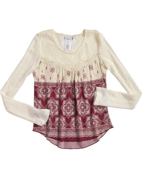 Shyanne Girls' Floral Tile Printed Long Sleeve Shirt, Ivory, hi-res