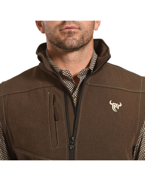 Cowboy Hardware Men's Brown Logo Poly Shell Vest , Brown, hi-res