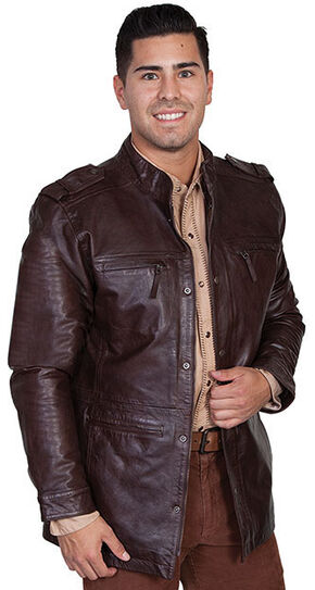 Scully Top Grain Calf Leather Snap Front Jacket, Brown, hi-res