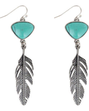 Shyanne Women's Turquoise Feather Earrings , Silver, hi-res