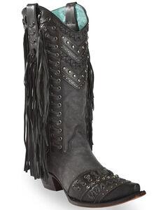 Corral Studded Side Fringe Cowgirl Boots - Snip Toe, , hi-res