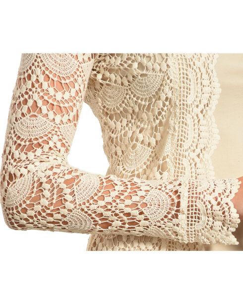 Young Essence Women's Beige Long Sleeve Lace Cardigan , Beige/khaki, hi-res