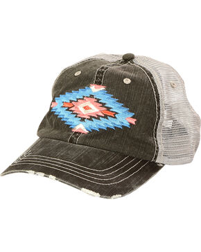 Shyanne Women's Aztec Mesh Back Baseball Cap, Black, hi-res