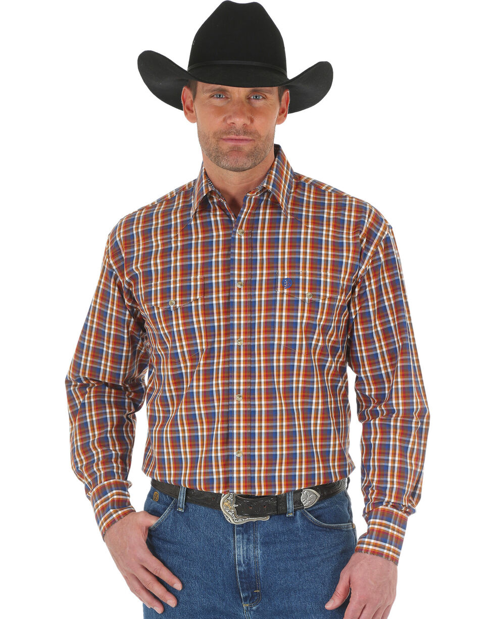 Wrangler George Strait Men's Chestnut/Blue Poplin Plaid Snap Shirt, Tan, hi-res