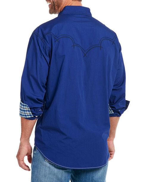 Cowboy Up Men's Solid Long Sleeve Western Shirt, Blue, hi-res