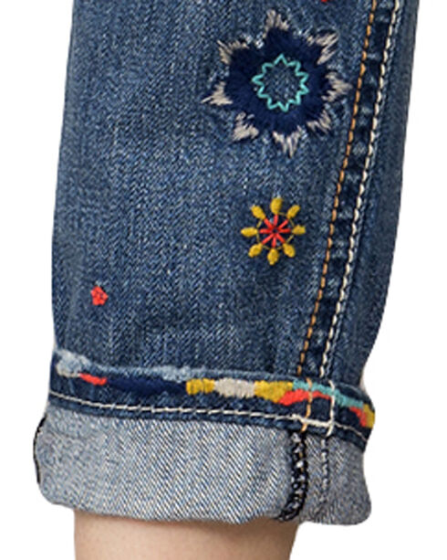 Miss Me Women's Indigo Rip Repair Embroidered Jeans - Boyfriend Ankle, Indigo, hi-res