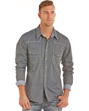 Rock & Roll Cowboy Men's Dark Blue Bleach Wash Print Shirt , Dark Blue, hi-res