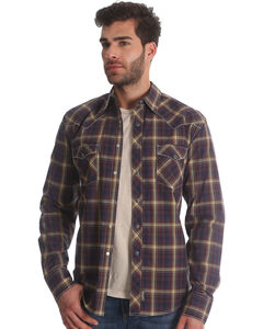 Wrangler Retro Men's Brown/Black Plaid Long Sleeve Snap Shirt - Tall, Brown, hi-res