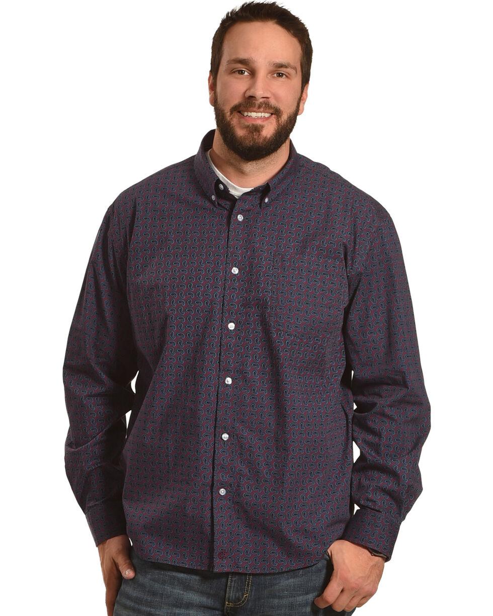 Cody James Men's Tulsa Paisley Long Sleeve Button Down Shirt - Big, Burgundy, hi-res