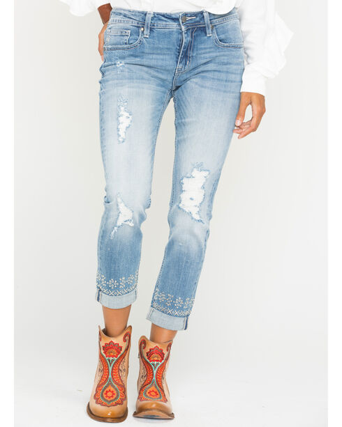 Miss Me Women's Embroidered Roll-Cuff Boyfriend Ankle Jeans - Straight Leg , Indigo, hi-res