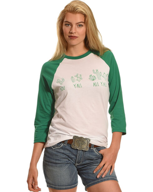 Cowgirl Justice Women's Cactus Baseball Tee, Pink, hi-res