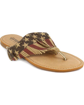 Shyanne Women's USA Fringe Sandal, Red/white/blue, hi-res