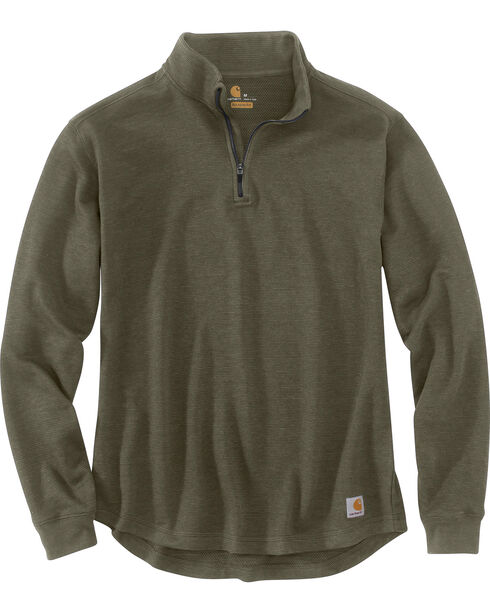 Carhartt Men's Tilden Long Sleeve Mock Neck Quarter Zip Sweatshirt, Moss Green, hi-res