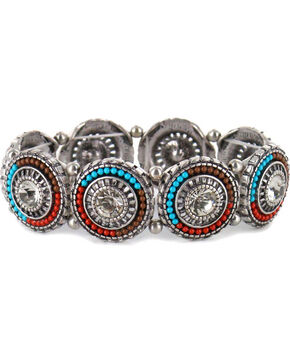 Shyanne Women's Beaded Pendant Link Bracelet, Silver, hi-res