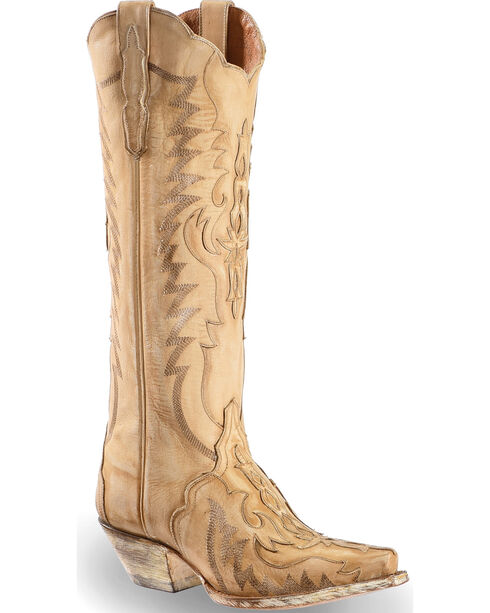 "Dan Post Women's Rustic Bone Overlay 15"" Western Boots - Snip Toe, , hi-res"