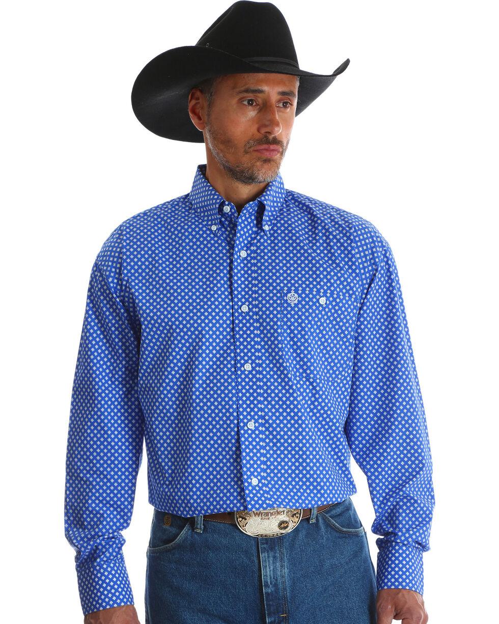 Wrangler Men's Blue George Strait Long Sleeve Shirt , Blue, hi-res