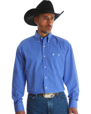 Wrangler Men's Blue George Strait Long Sleeve Shirt - Big & Tall , Blue, hi-res