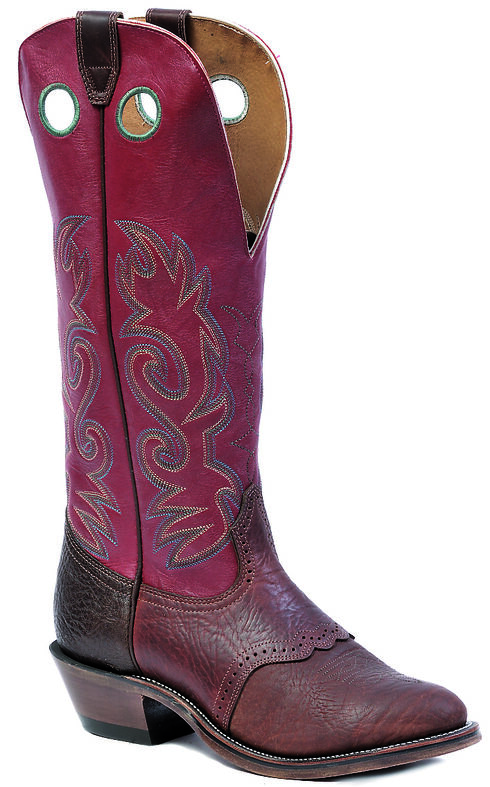 "Boulet Shoulder Old Town Deerlite Red Buckaroo 16"" Cowboy Boots - Round Toe, Brown, hi-res"
