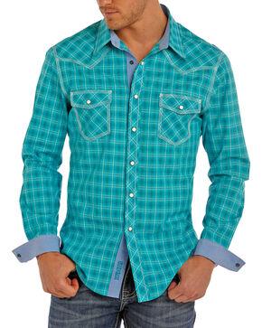 Rock & Roll Cowboy Men's Turquoise Plaid Shirt , Turquoise, hi-res