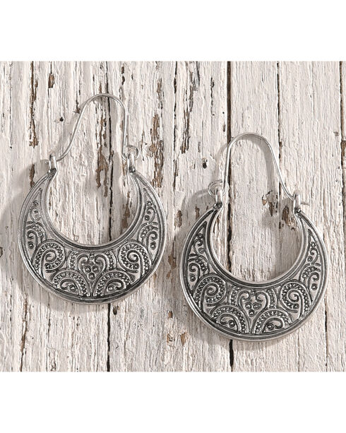 Shyanne Women's Filigree Engraved Crescent Earrings, Silver, hi-res