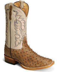 Nocona Full Quill Ostrich Western Cowboy Boots - Square Toe, Mink, hi-res