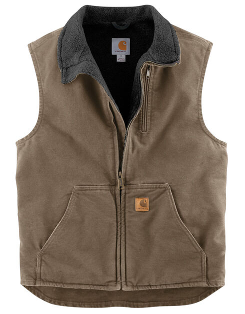 Carhartt Sherpa Lined Sandstone Duck Work Vest - Big & Tall, Lt Brown, hi-res