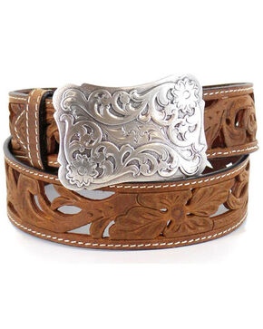 Angel Ranch Women's Floral Filigree Western Fashion Belt, Tan, hi-res