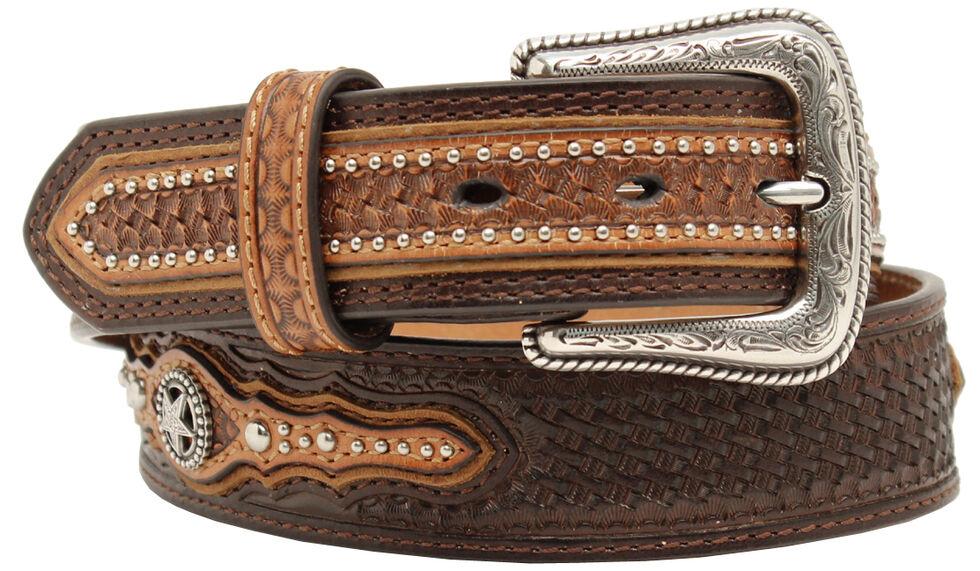 Nocona Men's Basketweave Star Concho Belt, Brown, hi-res