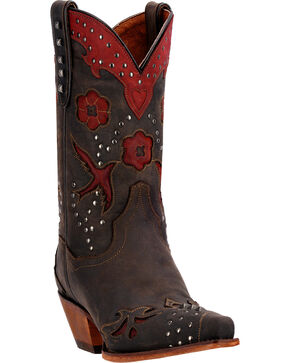 Dan Post Wild Bird Cowgirl Boots - Snip Toe  , Chocolate, hi-res