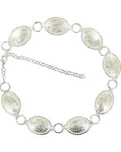Nocona Oval Concho Chain Belt, Silver, hi-res