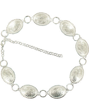 Nocona Oval Concho Chain Belt, Silver, hi-res