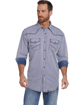 Cowboy Up Men's Vintage Wash Print Shirt , Blue, hi-res