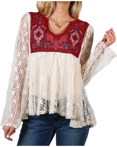 Shyanne® Women's Aztec Patterned Allover Lace Long Sleeve Top, Ivory, hi-res
