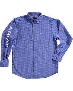 Ariat Men's Barado Print Pro Series Classic Logo Shirt, Blue, hi-res