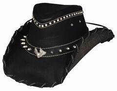 Bullhide Men's Iron Road Leather Hat, Black, hi-res