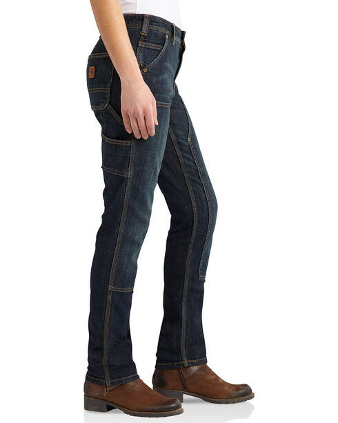 Carhartt Women's Series 1889 Slim Double-Front Denim Dungarees - Regular, Indigo, hi-res